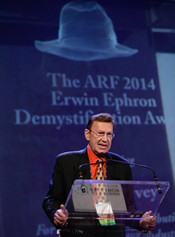 Bill Harvey receiving Erwin Ephron Demystification Award